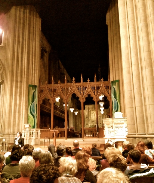 National Cathedral nave, where I saw Barbara Kingsolver speak.