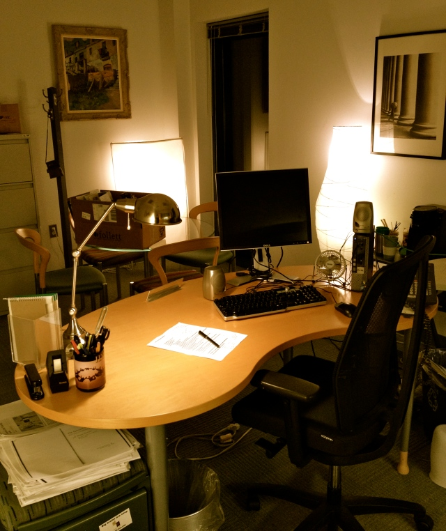 My tidied office as I prepared to leave to begin sabbatical, 4/30/2013